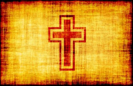 Holy Cross Engraved on a Parchment Background photo