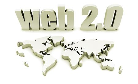 Web 2.0 with 3d Globe Map Concept photo