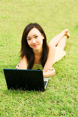 Internet Craze with a Young Asian Teenager photo