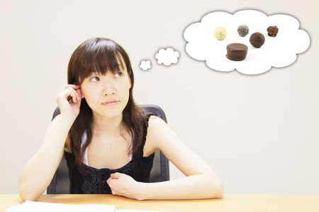 not a problem: Young Girl with a Chocolate Food Craving Stock Photo