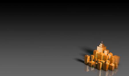 危険または脅威の下でオレンジ色の警告の 3 d の都市 写真素材