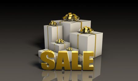 liquidation: Sale Sign with Gift Boxes in 3d Stock Photo