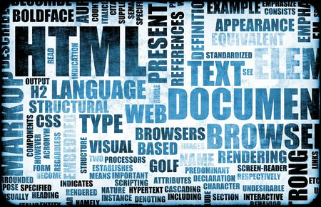 html: Blue HTML Script Code as an Background Stock Photo