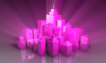 exciting: Party Nightlife Exciting City Tourism in 3d Stock Photo
