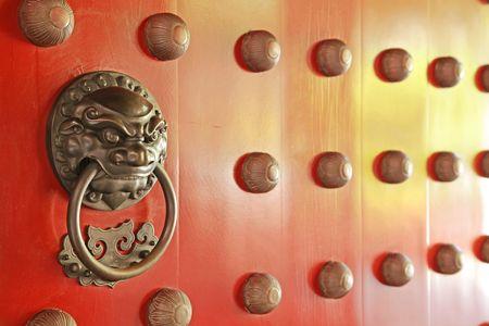 door knob: Chinese Door with a Lion Dragon Protector