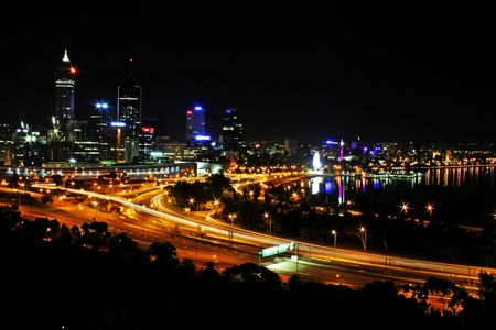 Perth City Skyline at Night Western Australia photo
