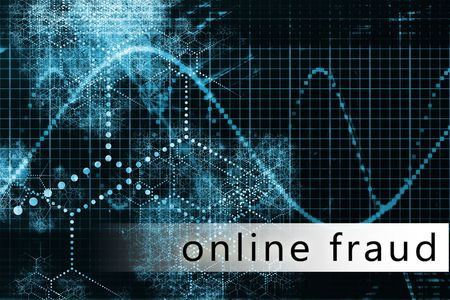 Online Fraud in a Blue Data Background Art photo