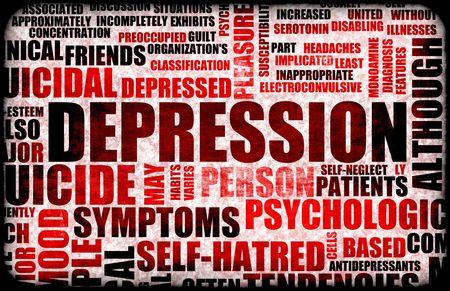 wanorde: Ernstige Depressie Medische Mental State Achtergrond Stockfoto