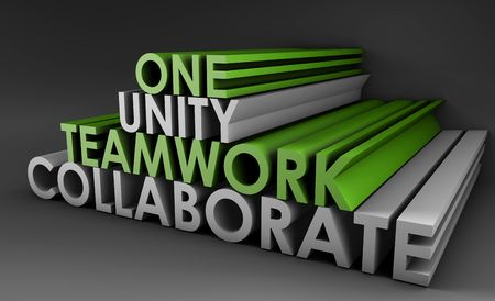 contributor: Teamwork Unity and Collaboration in 3d Text