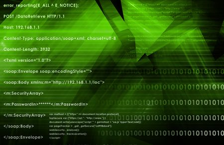 hijack: Web Application Logic on Internet as Background Stock Photo