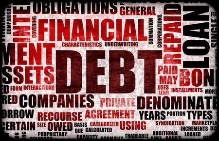 schuld: Financiële schulden als een Abstract Background Concept
