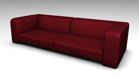 lounging: Red Leather Sofa in 3d Furniture Illustration