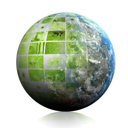 web portal: Green Futuristic Technology Data as Art Abstract Stock Photo