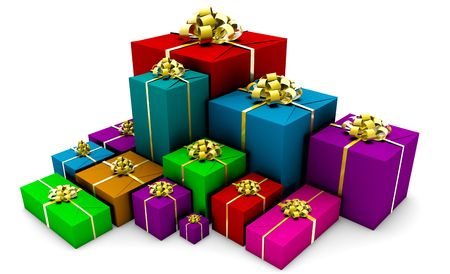 wrap wrapped: Group of Presents in Colorful Wrapping Gift Boxes