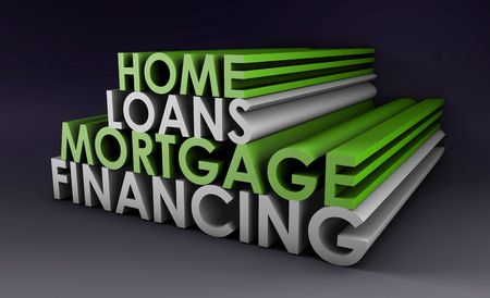 home loans: Loans Home Mortgage Financing Concept in 3d Archivio Fotografico