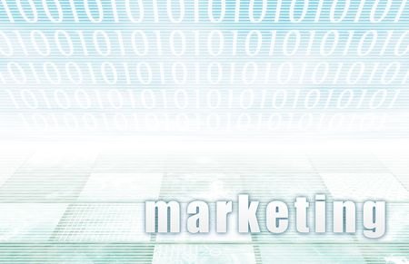 Marketing on a Clear Blue Tech Background Stock Photo - 5501895