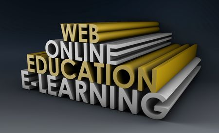 online learning: Online Education or Distance Learning in 3d