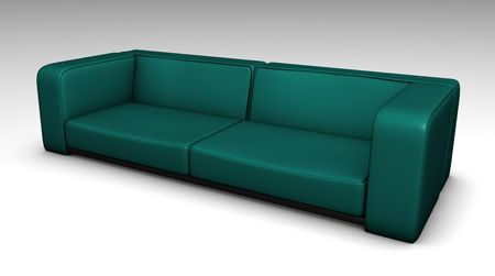 lounging: Blue Leather Sofa in 3d Furniture Illustration