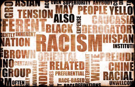 racisme: Racisme en discriminatie als een Grunge achtergrond Stockfoto