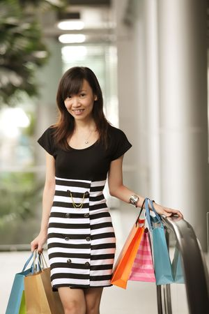 Retail Therapy Concept with Asian Female and Bags photo