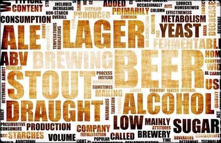Bier bijbehorende tekst als design element Achtergrond Stockfoto