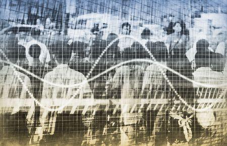 observational: Una gr�fica de Estad�stica con la gente Resumen Antecedentes Foto de archivo