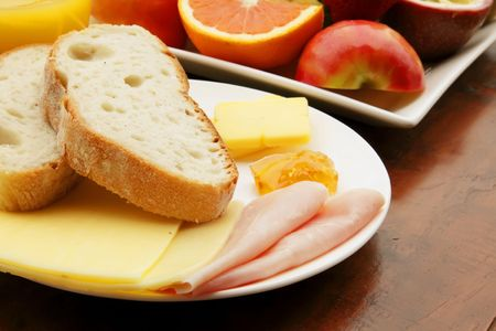 Breakfast Meal with Bread Ham and Cheese photo