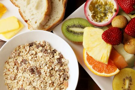 Muesli with Mixed Sliced Fruits Breakfast Meal Stock Photo - 5604263