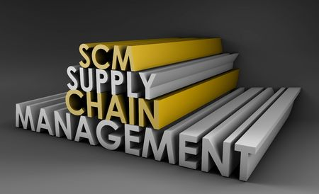 Supply Chain Management SCM Industry in 3d photo