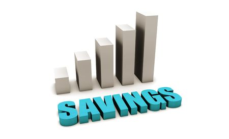 proper: Blue Savings in 3d with Bar Graph Chart
