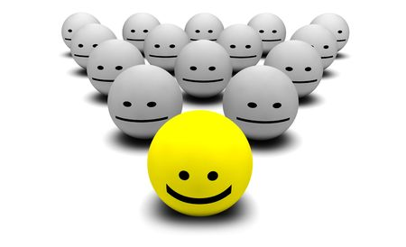 morale: Shiny Happy People Smiling Faces in 3d