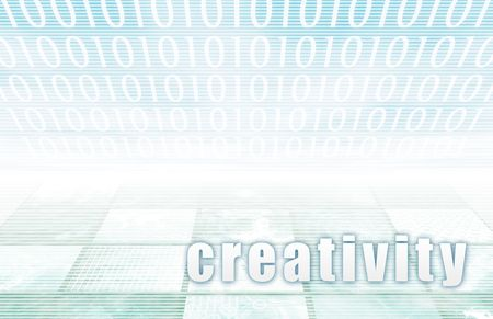 Creativity on a Clear Blue Tech Background Stock Photo - 5660867