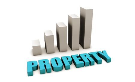 Blue Property Value in 3d with Bar Chart photo