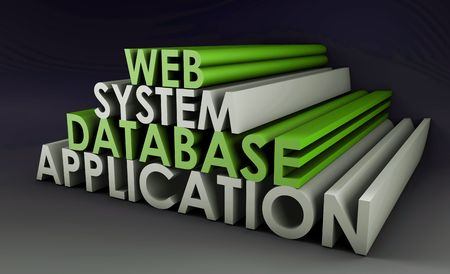 mysql: Web Application Database System in 3d Background Stock Photo