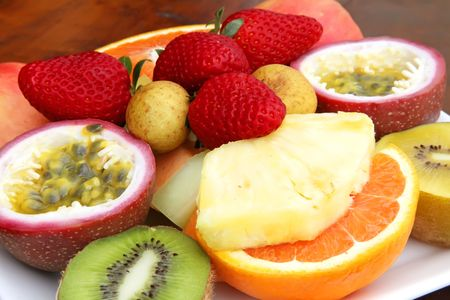 Fresh Fruits Sliced and Assorted on a Plate Stock Photo - 5711975