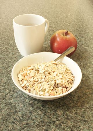 boosting: Muesli Breakfast with Fruit and Coffee Food Stock Photo