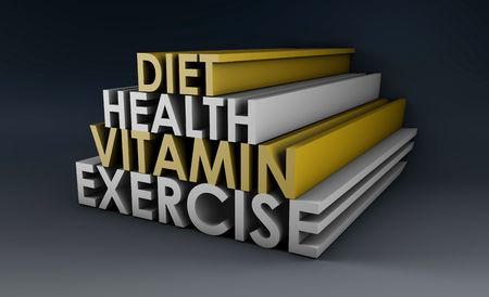 Healthy Lifestyle with Diet and Vitamins in 3d photo