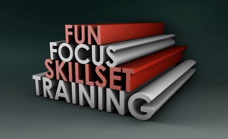 skill: Training Course Focus on Skillset in 3d Stock Photo