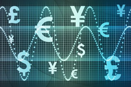 Blue World Currencies Business Abstract Background Wallpaper Stock Photo - 5716588