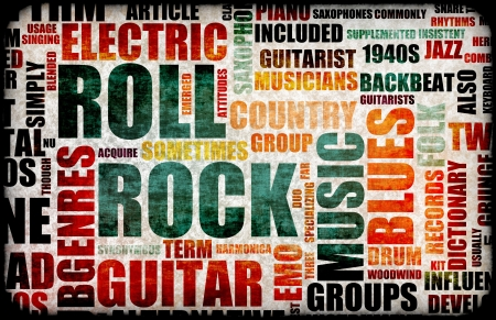Rock and Roll Music Poster Art as Background photo