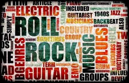 vintage: Rock and roll muziek poster kunst als achtergrond  Stockfoto