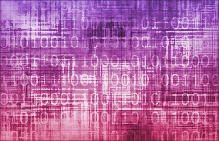 infotech: Purple Information Technology with Glowing Lines Stock Photo