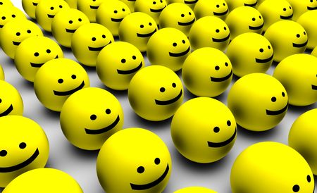 workers group: Shiny Happy People Smiling Faces in 3d