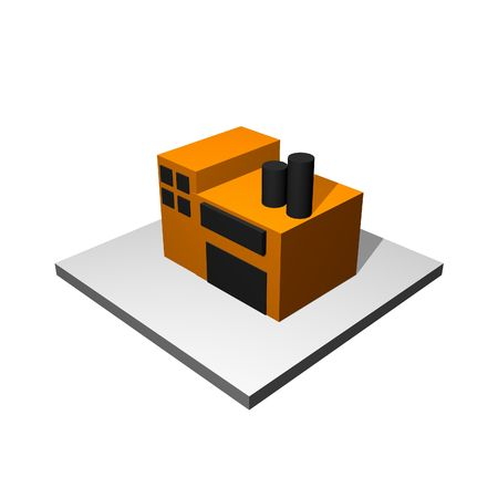 warehouse building: Factory Cartoon Icon Isolated on White Background