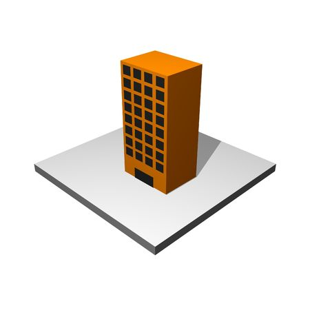 Office Building Cartoon Icon Isolated on White photo