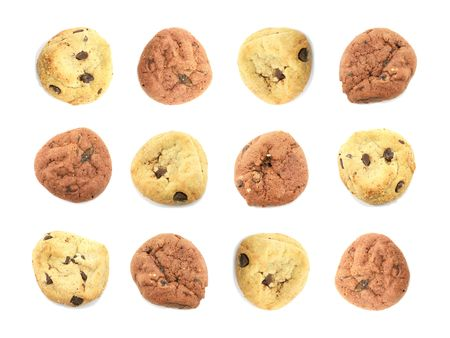 neatly: Many Neatly Arranged Cookies Isolated on a White Background