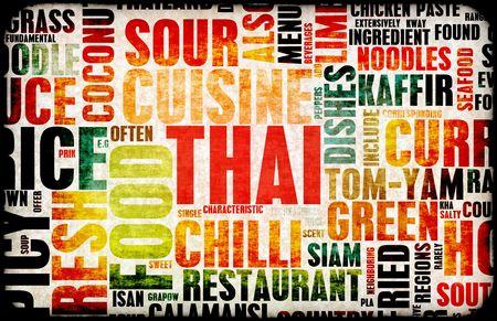 noodles soup: Thai Food Menu Art Background in Grunge