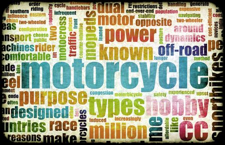 terminology: Motorcycle Hobby as a Fun Abstract Background