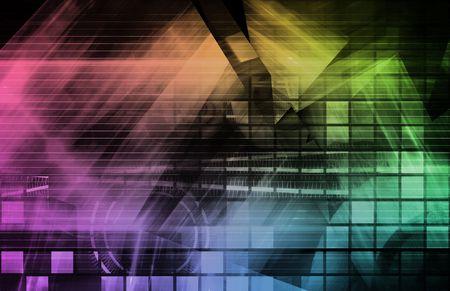 Virtual Technology with Data Network Stream Art photo