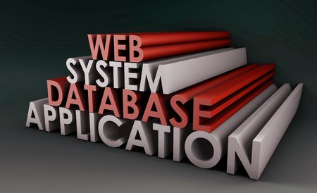 web application: Web Application System Database in background 3d